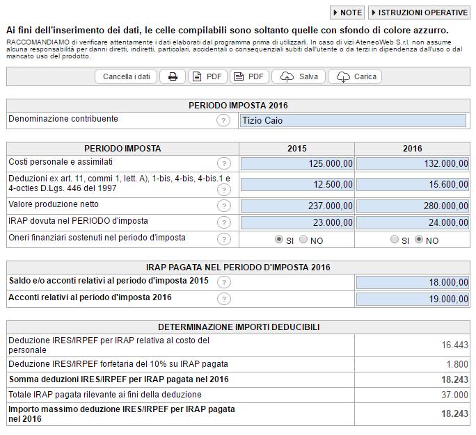 Calcolo deduzione IRPEF/IRES per IRAP pagata sul costo del lavoro e oneri finanziari: versione Cloud - Immagine 1 / 1