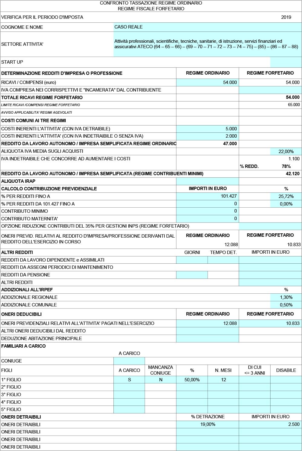 FLAT TAX 2019, test di convenienza (versione Excel) - Immagine 1 / 2