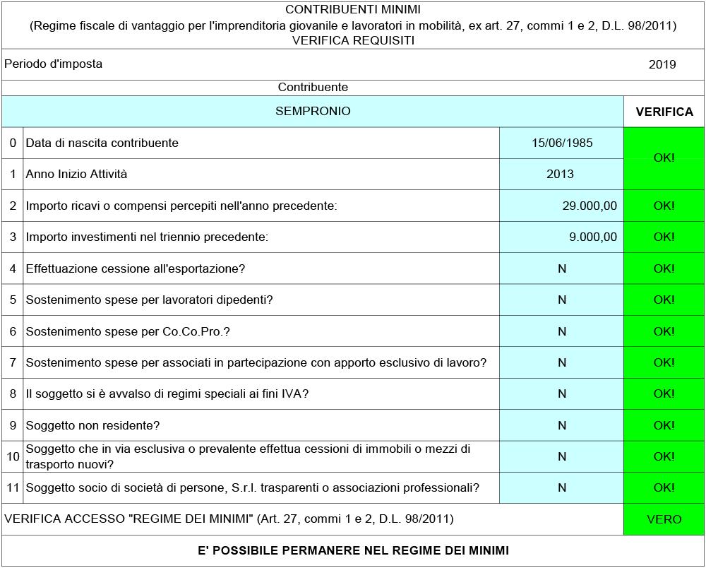 Verifica Requisiti Contribuenti Minimi 2019 - Immagine 1 / 1