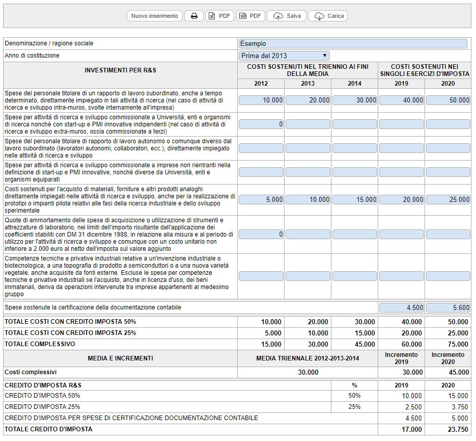 Credito di imposta per investimenti in ricerca e sviluppo (periodo 2019/2020): versione Cloud - Immagine 1 / 1