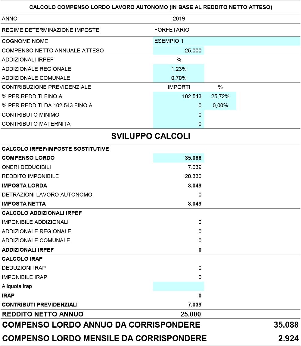 Calcolo compenso lordo lavoro autonomo 2019 - Immagine 3 / 4