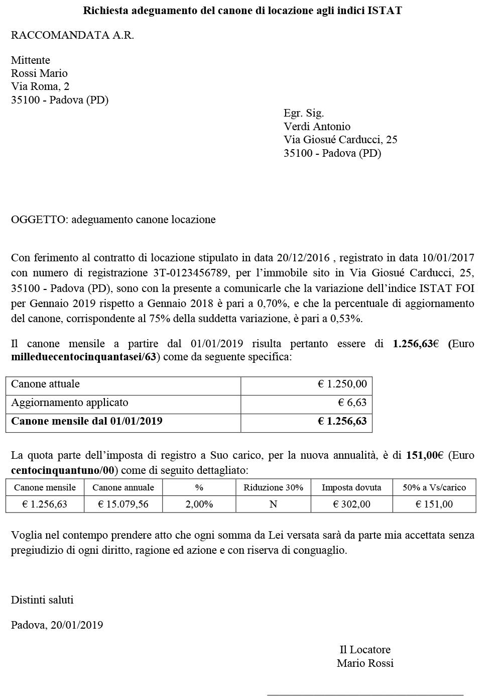 Lettera Aggiornamento Canoni Locazione e Imposta di Registro - Immagine 4 / 4